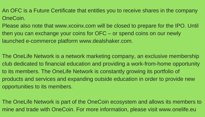 onecoin going public 2018