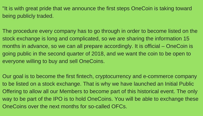 onecoin going public