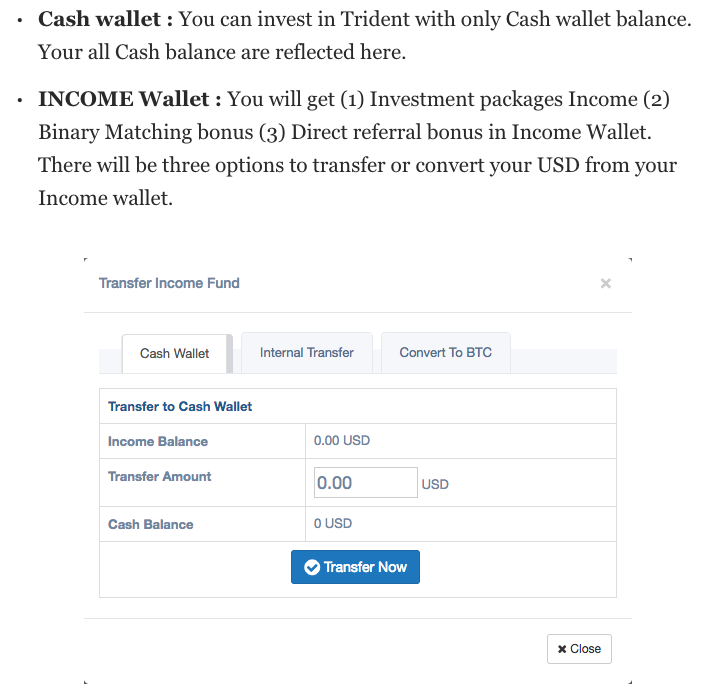 trident crypto fund cash wallet transfer funds