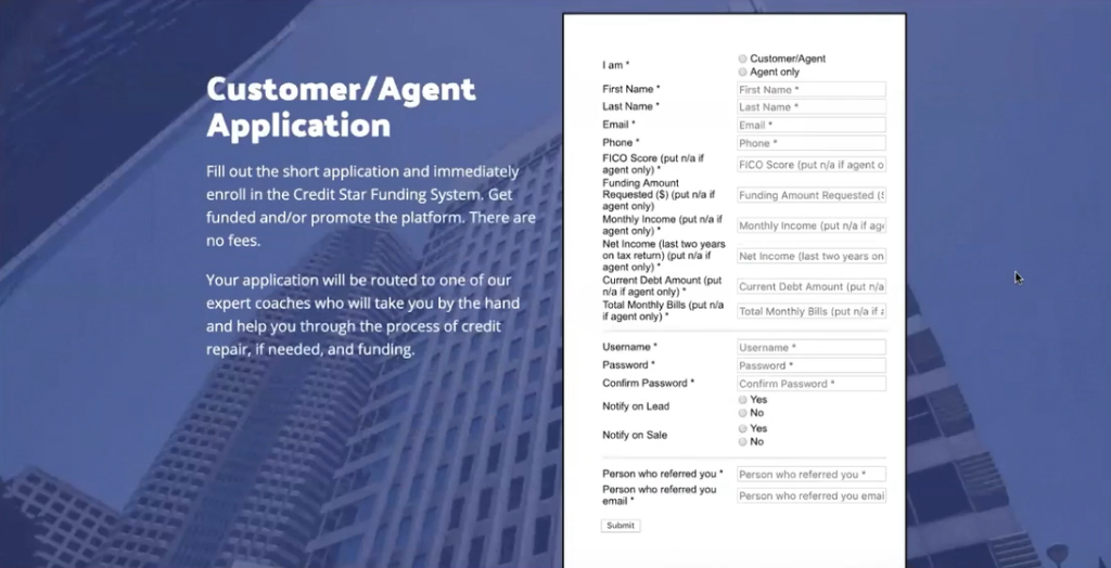 credit star funding application